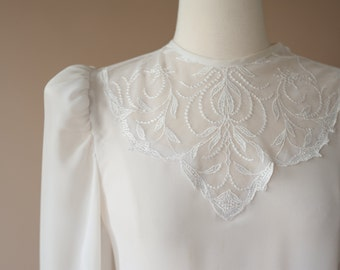 Lace  Sheer White Blouse Small