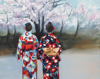 giclee print of 2 ladies wearing kimono under the cherry blossom