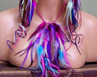 Festival Jewelry, Feather Necklace, Tribal Jewelry, 4th of July, Festival Headpiece, Purple Feathers, Pink Feathers, White Feathers, Blue