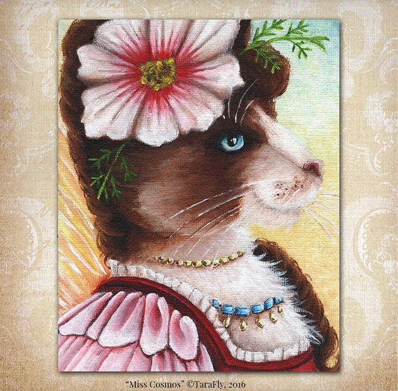 Cosmos Fairy Cat Flower Fantasy Art 8x10 Fine Art Reproduction Print