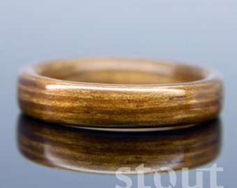 Black Bean Wooden Ring - Handcrafted Bentwood Wedding Band - Custom Made