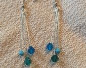 Tiered blue drop Swarovski crystal earrings