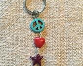 Peace love and starfish beachy keychain