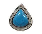 Turquoise Ring, Boho Gypsy, Kazakh, Vintage Ethnic, Silver, Afghan, Bohemian, Statement, Detailed, Size 8, Big Festival Ring