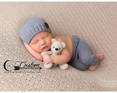 RTS Newborn Boy Clothes, Victor Gray Newborn Pants Photography Prop with Matching Hat, Baby Boy Props, Photo Props, Pants, Hat, Knit, Button