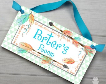 Follow Your Own Arrow Gender Neutral Girls Boys Tribal Arrow and Feathers DOOR SIGN Bedroom and Baby Nursery Kids Bedroom Wall Art DS0429