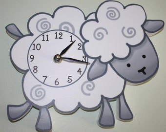 Sheep Lamb Wooden WALL CLOCK for Girls Boys Farm Animal Bedroom Baby Nursery WC0082