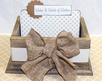 Baby Shower Guest Book, Guest Book Box, Rustic Baby Shower, Advice Box, Burlap, Bow, Gender Neutral, Tan Guest Book, Polka Dots, Advice Box