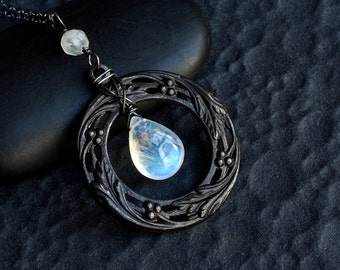 Rainbow Moonstone Necklace on Oxidized Sterling Silver - Soma by CircesHouse on Etsy