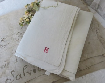 Antique Vintage French Texture Linen Dowry By