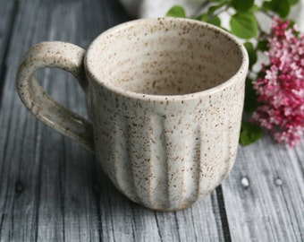 Handmade Stoneware Mug in Warm White Speckled Glaze Rustic Pottery Cup Ready to Ship Made in USA
