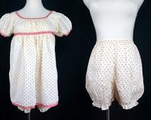 1950s Red Cream Pajama Set Nightie Babydoll Bloomers Sleep Shorts Underpants Medium