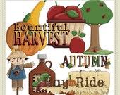 On Sale Autumn Delights Fall Season Scarecrow Pumpkin Apple Hay Ride Cider Clip Art Graphics by Alice Smith