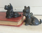 Antique Metal Terrier Dog Figurines