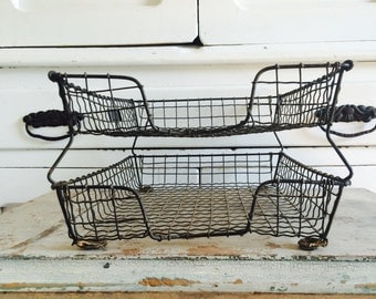 Antique Wavy Wire Metal Two Tier Office Desk File Basket by Bar Bee