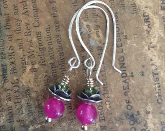 Fuchsia Flower Silver and Green Earrings