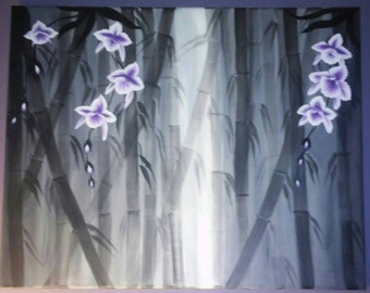 Orchids and Bamboo in the Myst 16 x 20 canvas Painting