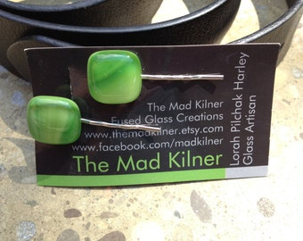 Green Fused Glass Bobby Pin, Hair Pin, Hair Accessory, Bobby Pin, Art Glass, Handmade