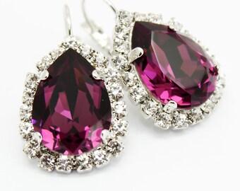 Rhinestone Earrings, Amethyst Earrings Pear Swarovski Crystal, Eggplant Purple Drop Earrings, Bridal Bridesmaids Leverback, Wedding Jewelry