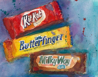 KitKat, Butterfinder, Milky Way Candy - kitchen Decor- Original Watercolor or Print