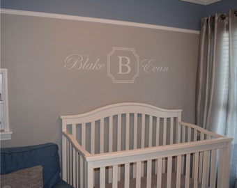 Monogram with Name decal - Nursery Decal - Personalized decal - Childrens Decal - Name and Initial Decal - Vinyl Wall Decal - Teen Decal
