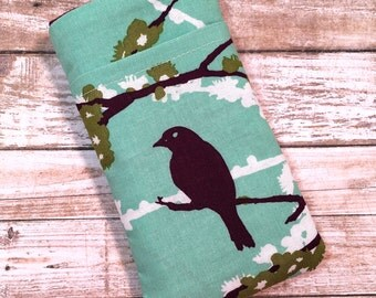 Bird iPhone 7 Case, iPhone 6 Case, iPhone 6 Plus Case, iPhone Wallet, Samsung Galaxy S6, Galaxy S7 Case, Google Pixel, Teal Bird Fabric