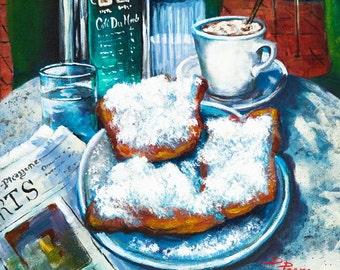 Beignets and Café au Lait at Café du Monde, Jackson Square, French Quarter Coffee Shop, New Orleans Coffee and Donuts - 'A Beignet Morning'