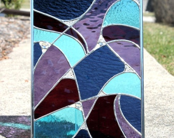 Abstract Stained Glass Panel in Midnight Blue, Deep Cranberry, Sky Blue and Purple