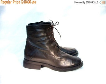 SALE 90s Brown Leather Boots size 8 Wide Made in Italy BASS Lace Up Granny Boots