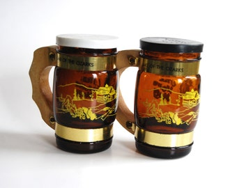 Vintage Little Brown Jug Salt and Pepper Shakers, Ozarks