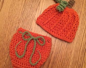 Crochet Newborn 3 mth Pumpkin Set