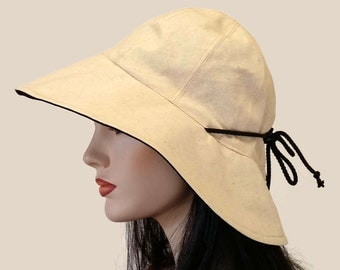 Cottage Hat Wide Brim Sun Hat in solid natural cotton-linen and cotton with adjust fit and reversible plus chinstrap