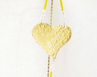 Heart Sun Catcher Ceramic  Wall Hanging  Catcher Crystal Beads # O2