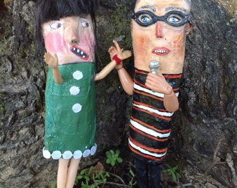 Folk art Bald Man Art doll Teacher speaker preacher doll Karaoke doll paper mache doll