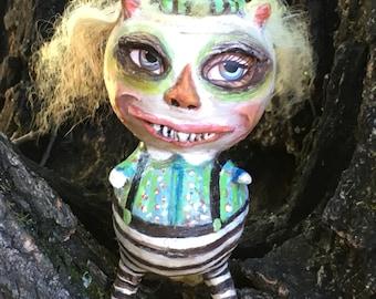 Folk art halloween imp goblin doll paper clay doll