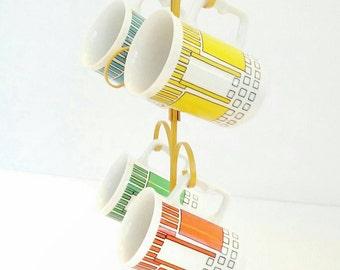 Vintage - Retro- Coffee - Cups - Four Cup - Set
