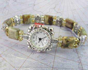 Beaded Watch - Petite Silver Leaf Jasper and Topaz Crystal Glass Stretchy Watch with Rhinestone Studded Watch Face