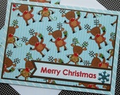Handmade Christmas Card with Matching Embellished Envelope - Reindeer Games