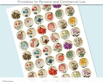 Digital Collage Sheet Vintage Flower Postcard 30mm 25mm 20mm Circle Download Sheets for Glass Pendants Cuff Links Round