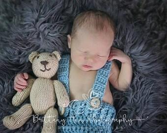 Sea Blue Newborn Baby Boy Shorts, 0 to 3 Month Blue Photo Prop Suspender Shorts
