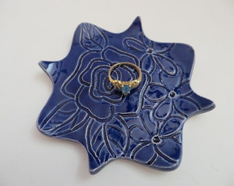 Ring Dish, Wedding ring holder, Spoon Rest, Bridesmaid Gift, Navy Blue Cobalt, IN STOCK