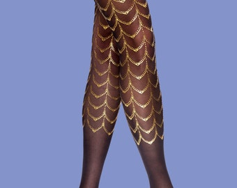 Black & gold Cabaret tattoo tights, gift for her, gift for girlfriend, gift ideas, available in S-M L-XL