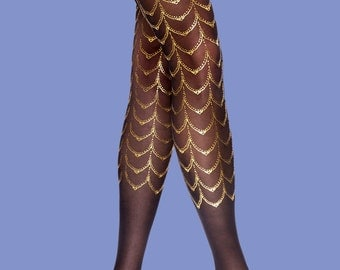 Black & gold tights, Cabaret style, gift for her, gift for girlfriend, gift ideas, available in S-M L-XL