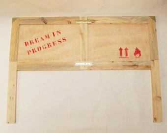 Reclaimed wood headboard custom-made by order. Recycled wood box.
