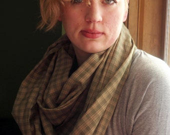 Oversized Mossy Green Plaid Infinity Scarf