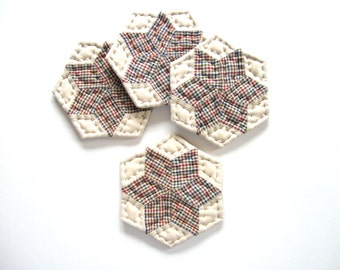 Fabric Coasters - Quilted Coasters Drink Coasters Star Coasters Country Home Decor Rustic Home Decor Primitive Country Decor Farmhouse Decor