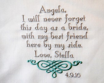 Personalized  for the maid of honor best friend from Bride embroidered wedding ladie's handkerchief thank you present gift envelope