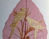 Valentine gift. UNIQUE handmade LOVE birds. No two leaf nor two of my handmade leaf art exactly alike. Valentine gift to your loved one