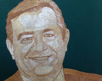 Texas congressman portrait handmade with rice straw.  Have you seen ancient rice straw art?