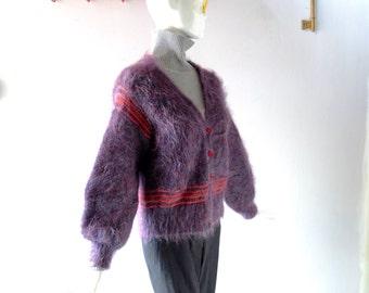 Vintage Mohair / Angora Cardigan - sz L Textile Workshop & Gallery Edinburgh Scotland Purple Mauve Hand Knit Winter Statement Sweater 10 12